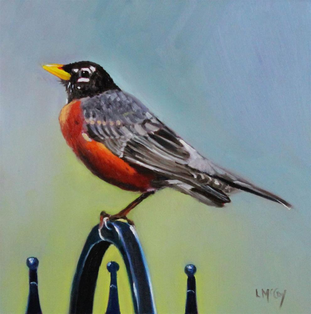"""The Guardian, Robin Oil Painting"" original fine art by Linda McCoy"