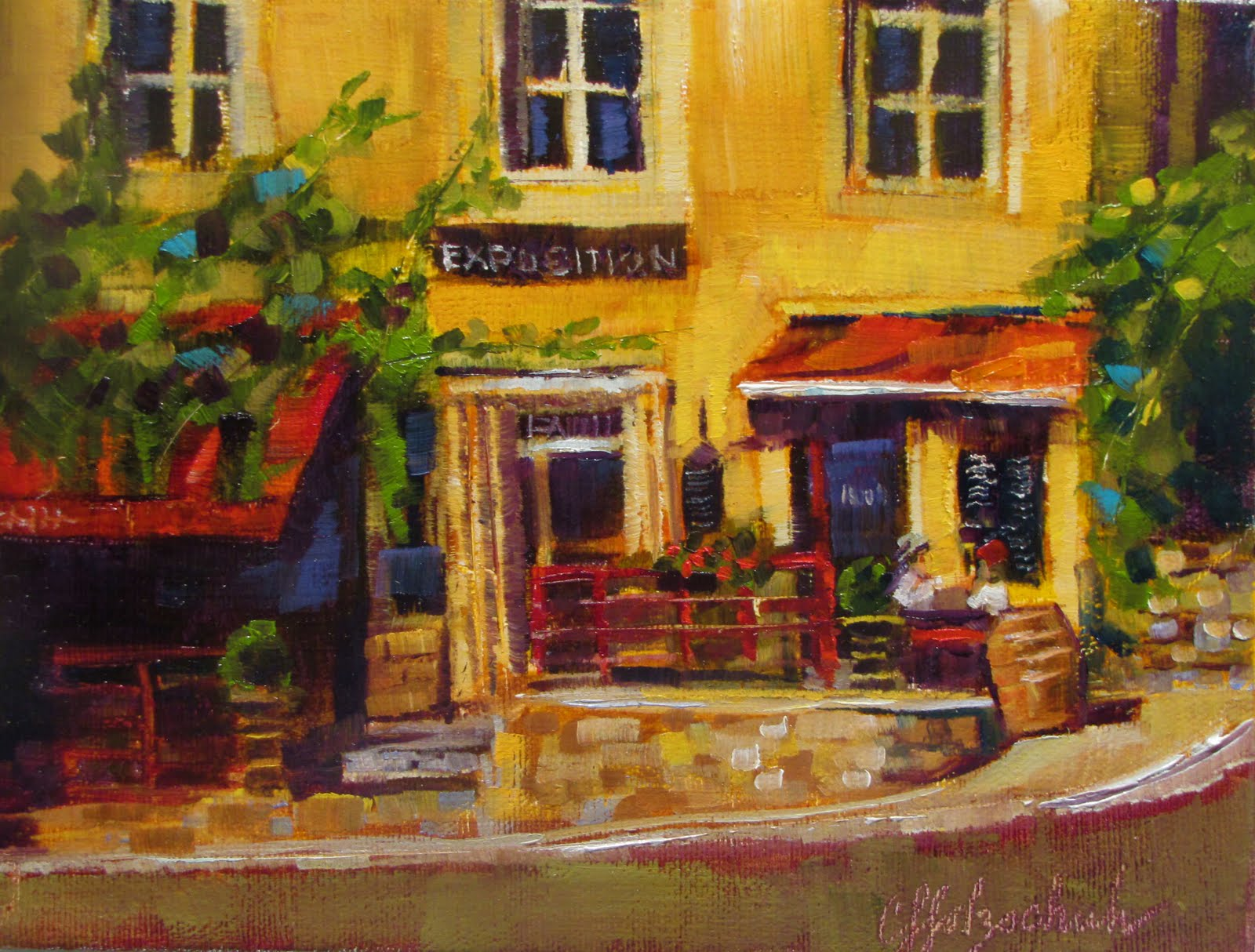 """Guinguette de l'Air   oil 8x10  #352 sold"" original fine art by Christine Holzschuh"