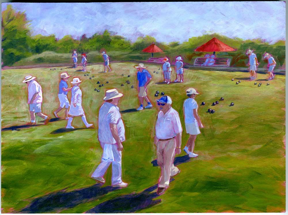 """Lawnbowlers"" original fine art by Eileen Hennemann"