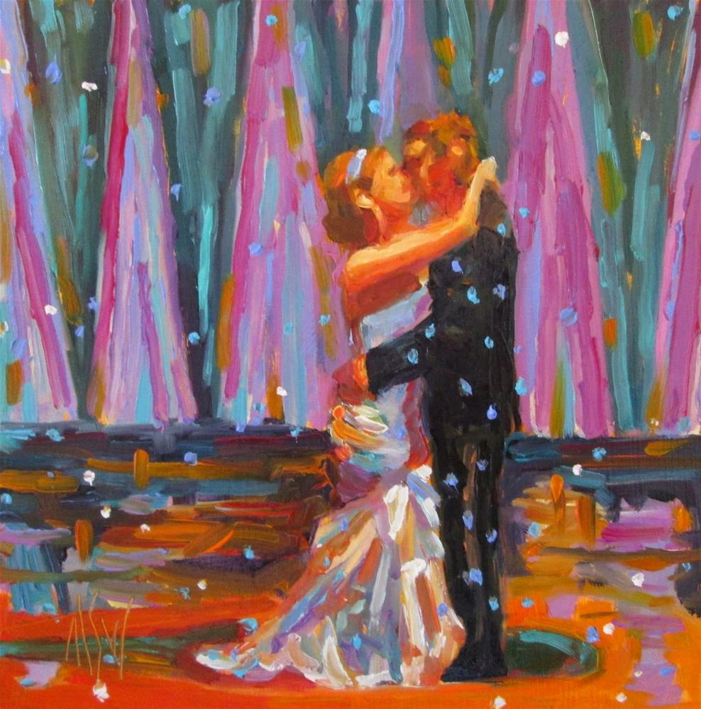 """GJWP Challenge Bride the first dance as a married  couple is so special."" original fine art by Mary Sheehan Winn"