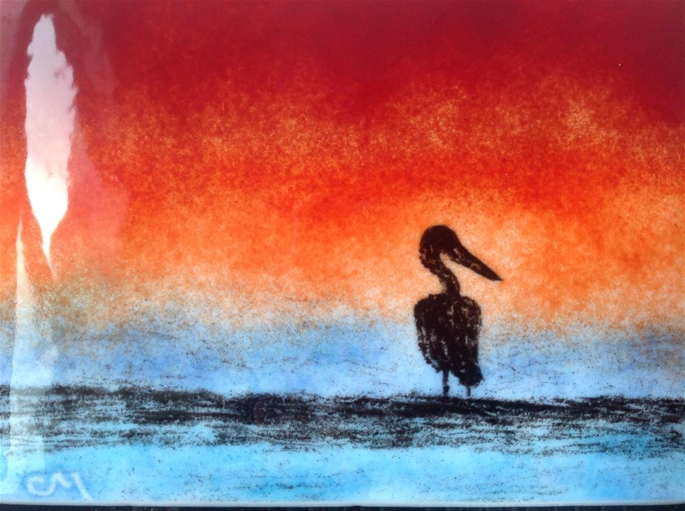 """Pelican at Sunset"" original fine art by Calloway Meiners"