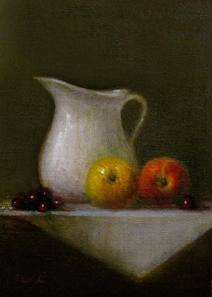 """Peaches and Cream"" original fine art by MeeLi Lee"