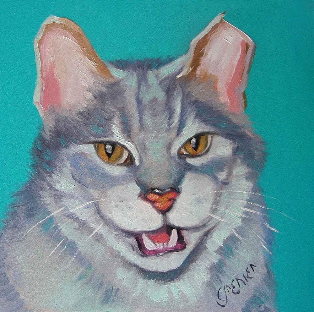 """Laughing Cat"" original fine art by jean grenier"