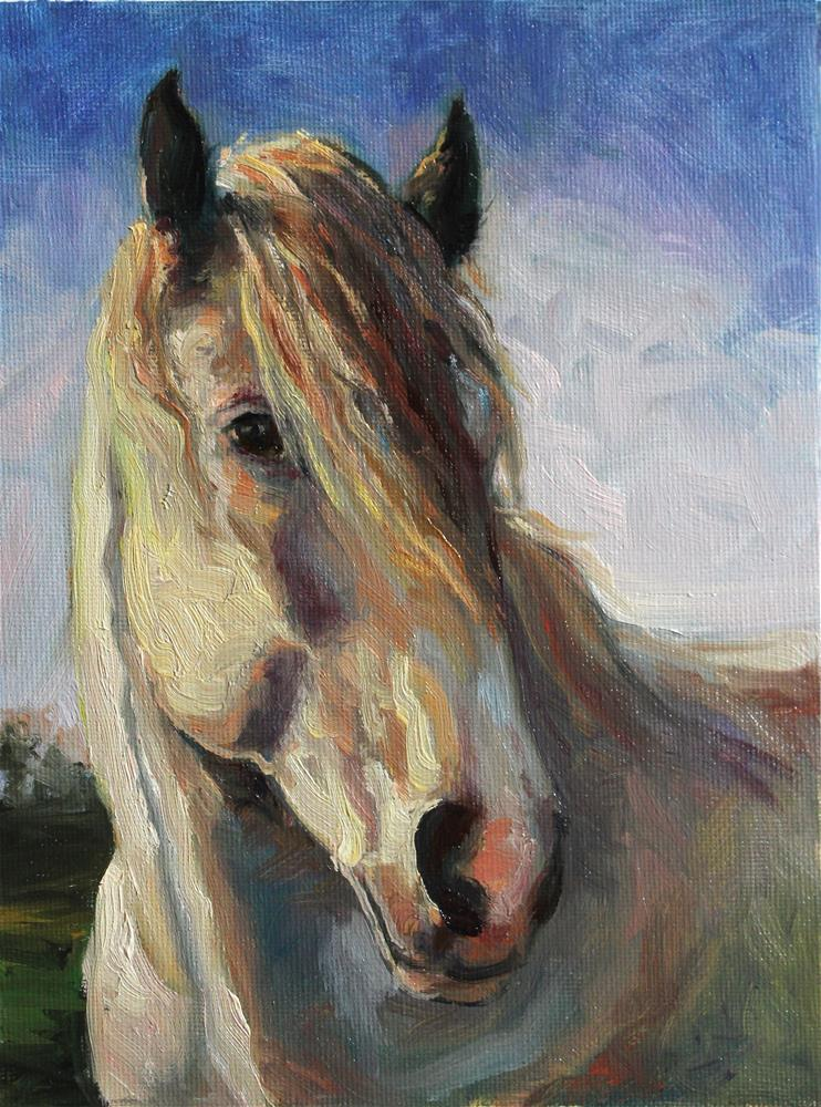 """Colorful White Horse"" original fine art by H.F. Wallen"