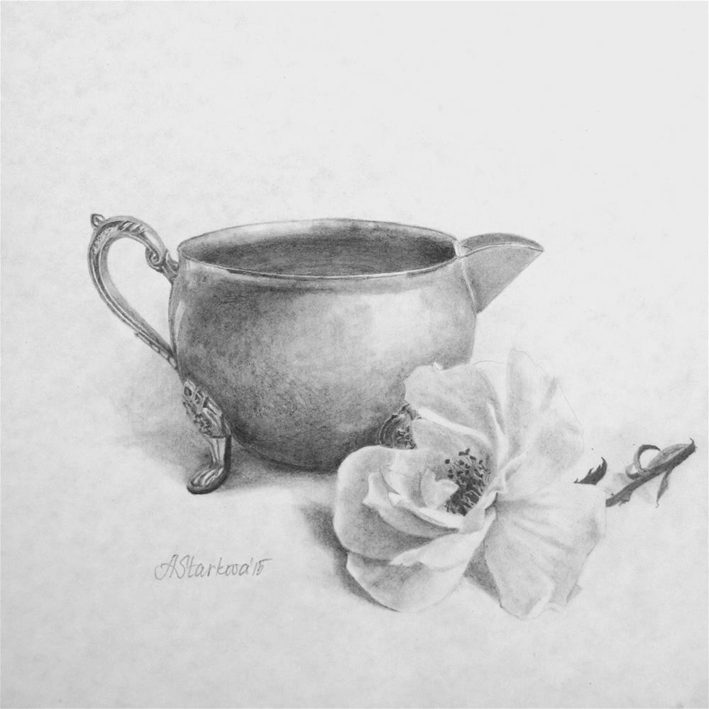 """An old creamer and a rose"" original fine art by Anna Starkova"