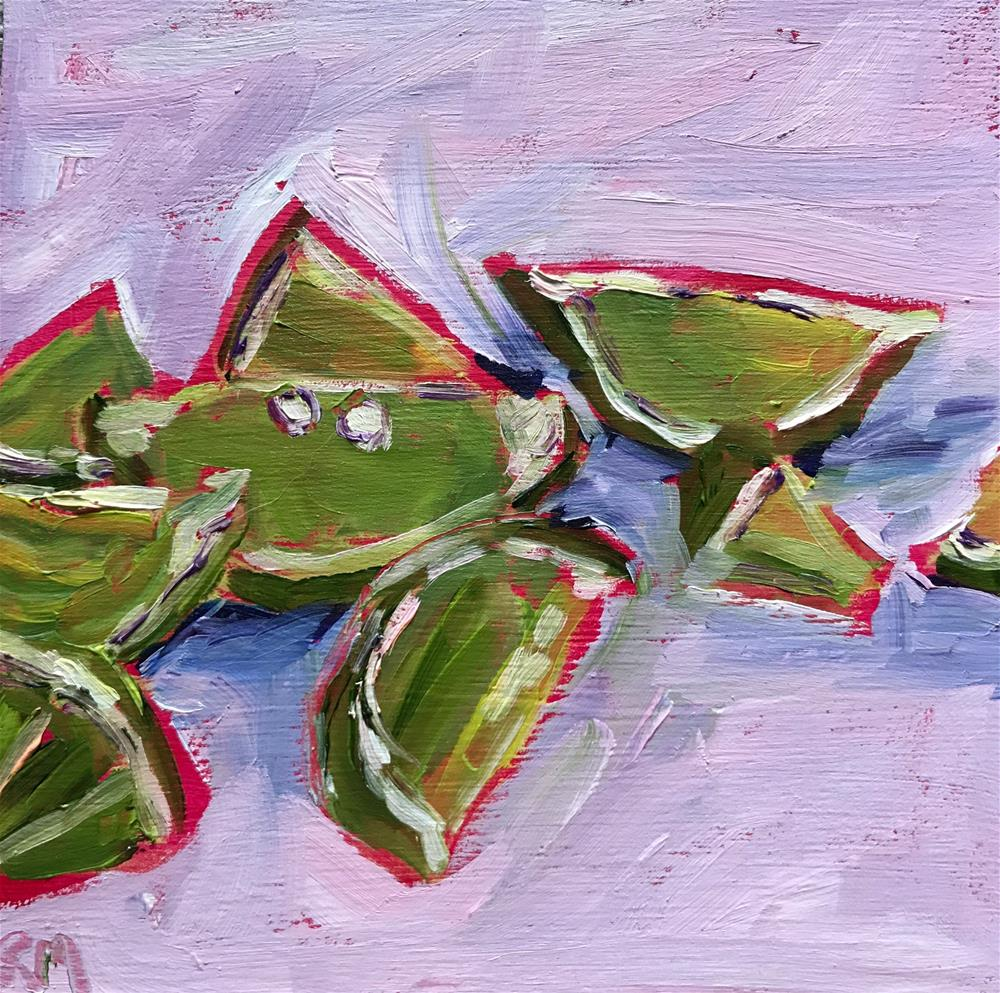 """Green Slices with Pink"" original fine art by Rita Malenczyk"