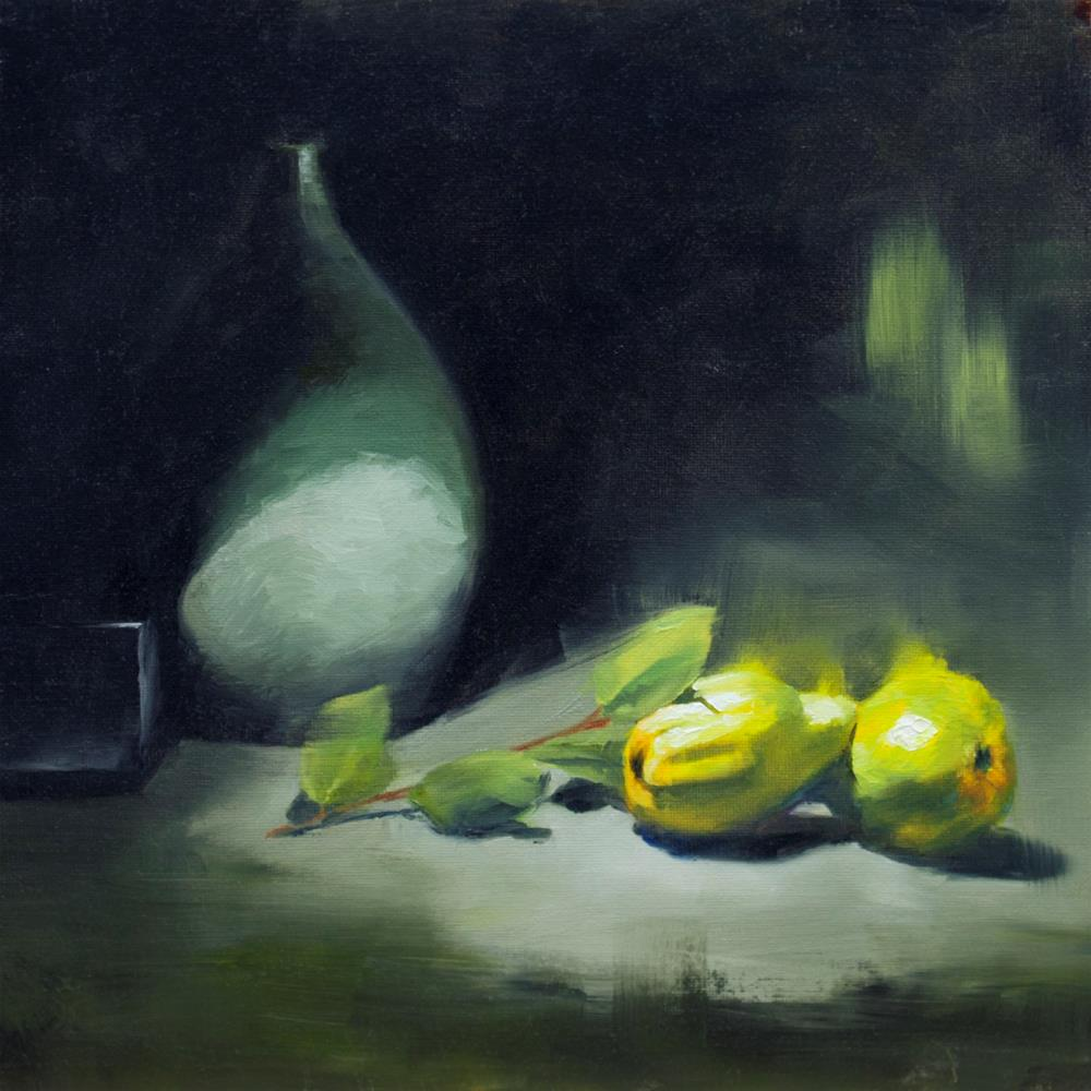 """Yellow fruits and grey"" original fine art by Thierry Monter"
