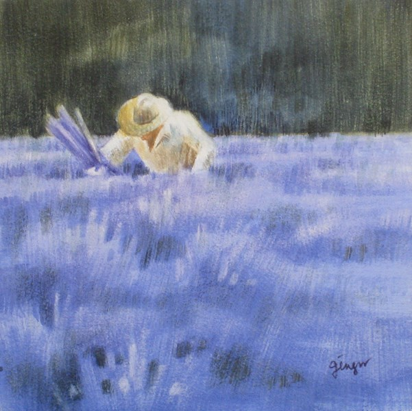 """Lavender Picker 3"" original fine art by Ginger Pena"