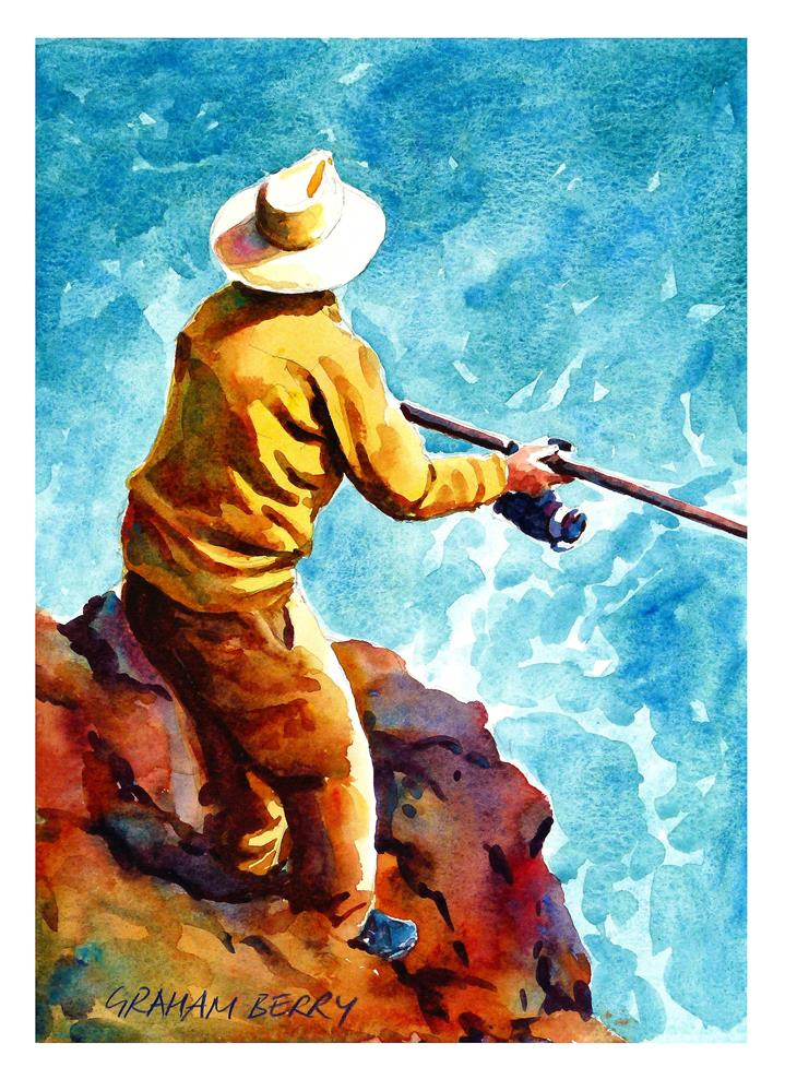 """Fishing off the rocks."" original fine art by Graham Berry"