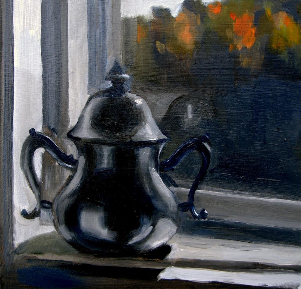 """Pewter Sugarbowl On Sill (no.27)"" original fine art by Michael William"