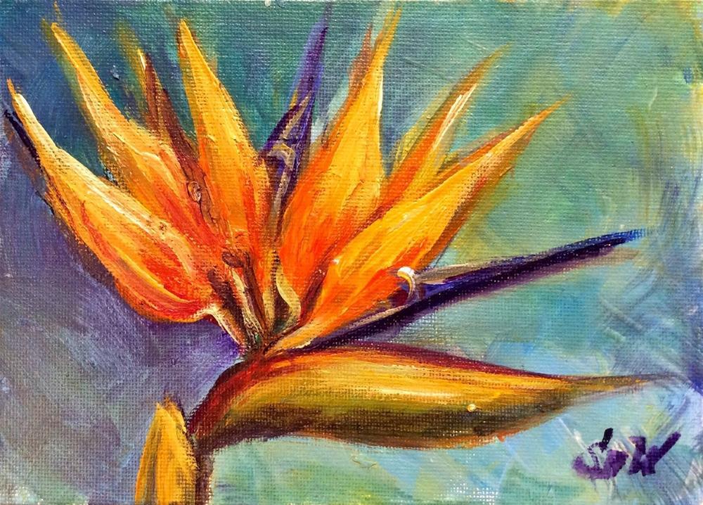 """""""Bird of paradise flower painting"""" original fine art by Sonia von Walter"""