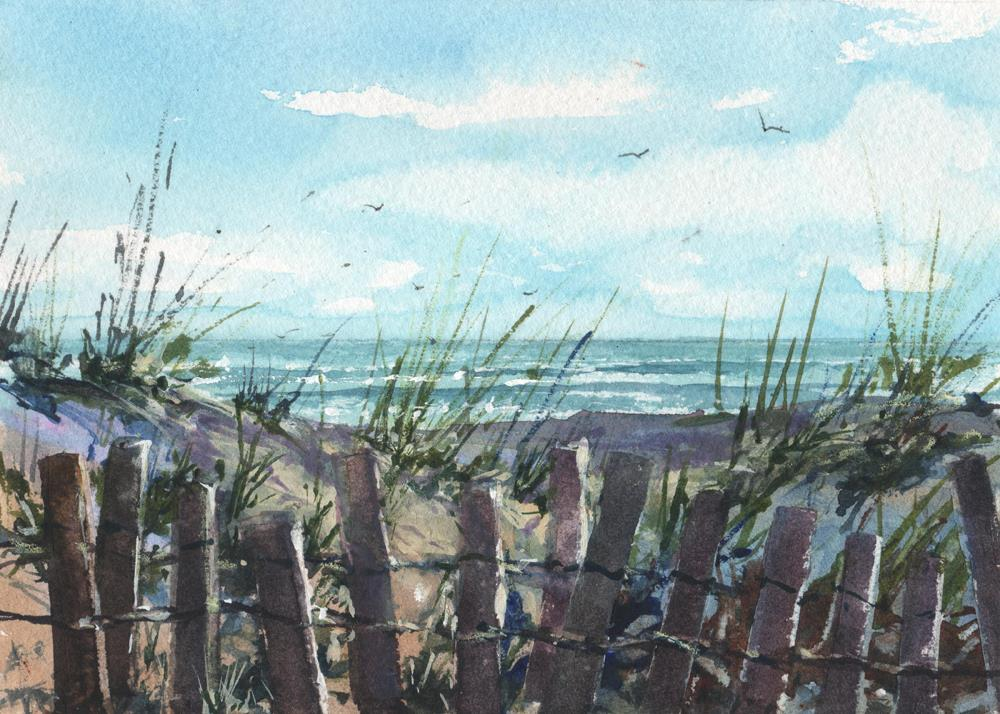 """BEACH FENCES"" original fine art by Linda Henry"