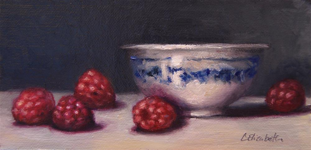 """Still Life with Raspberries and Blue and White Bowl,  Oil on 3x6 Linen Panel"" original fine art by Carolina Elizabeth"