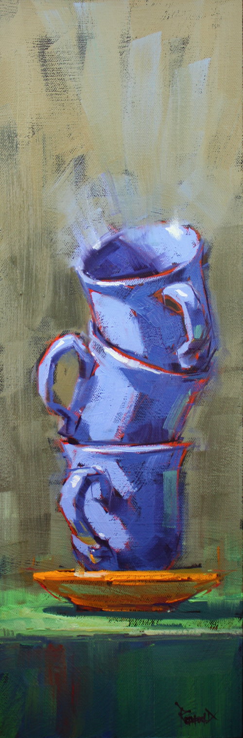 """3 Periwinkle Cups"" original fine art by Cathleen Rehfeld"