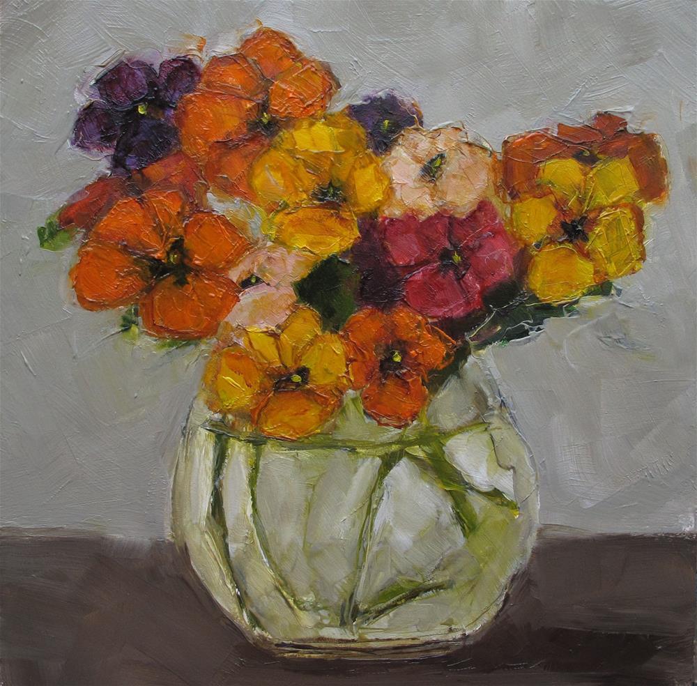 """""""STILL LIFE Floral Pansy Pansies Original Art Colette Davis 6x6 Painting OIL"""" original fine art by Colette Davis"""