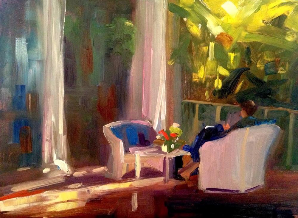 """Annie on the Veranda, 12x9"" original fine art by Ann Feldman"