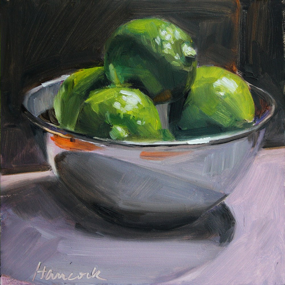 """Top Lit Limes in a Silver Bowl"" original fine art by Gretchen Hancock"