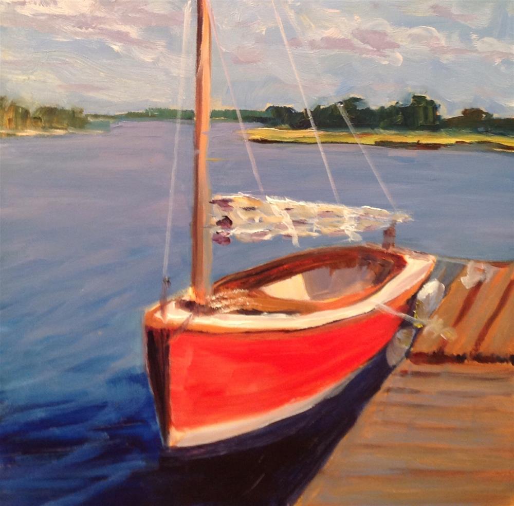 """Red boat"" original fine art by Debra Kennedy"