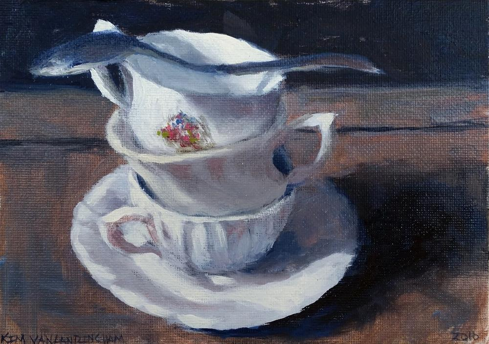 """Teacups & Spoon Study"" original fine art by Kim Vanlandingham"