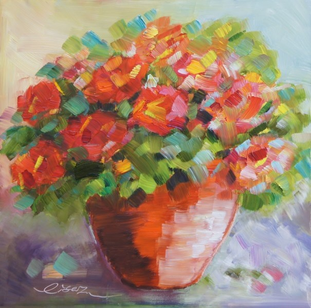 """Geraniums in a clay pot"" original fine art by Lisa Fu"