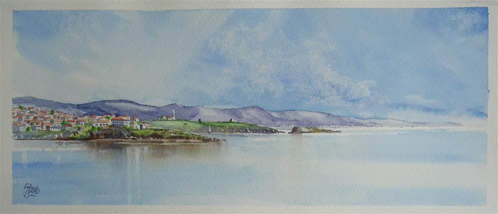 """""""The Bay of Burgas from Paradise Bay"""" original fine art by Martin Stephenson"""