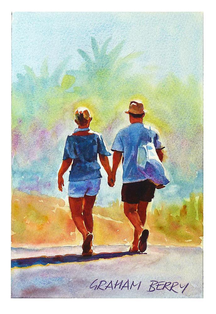 """Walking to the beach"" original fine art by Graham Berry"