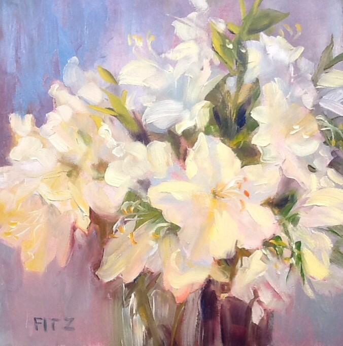 """White Azaleas"" original fine art by Jean Fitzgerald"