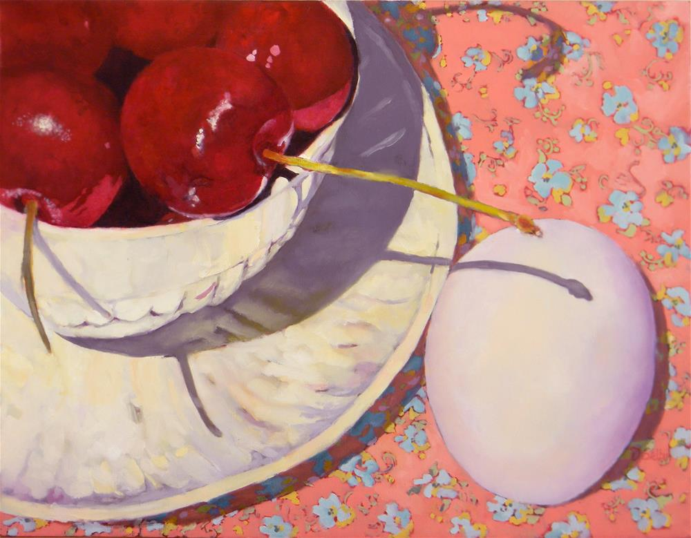 """Cherries and Egg"" original fine art by De Selby"