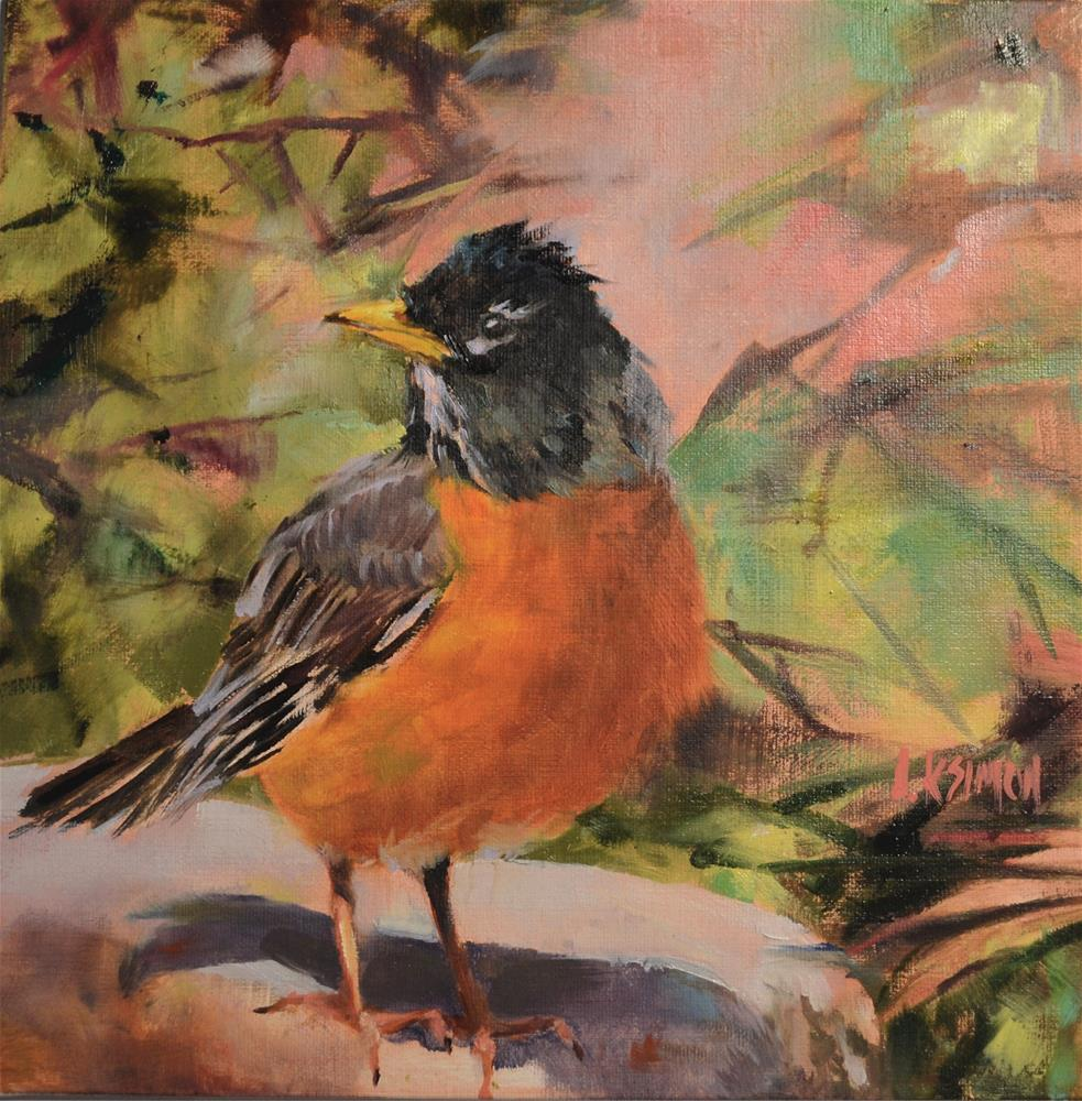"""American Robin - State Bird for CT, MI & WI"" original fine art by A.K. Simon"