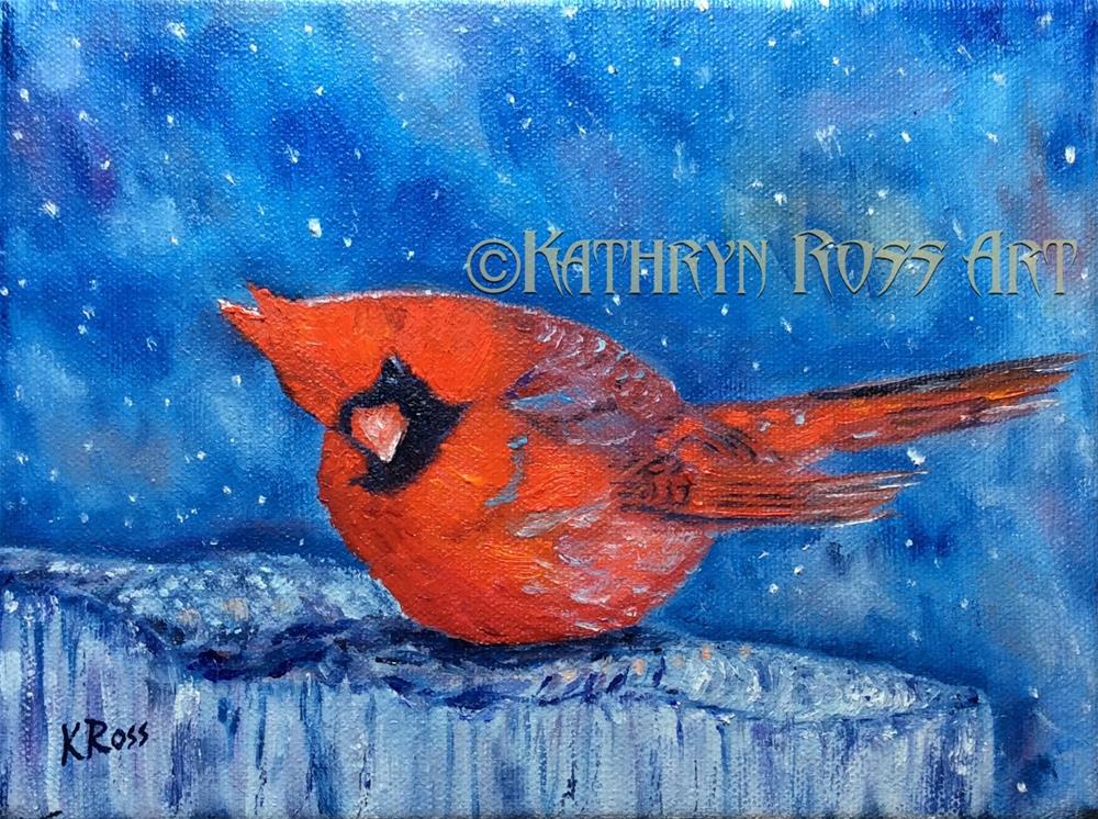 """Cardinal in the Snow"" original fine art by Kathryn Ross"