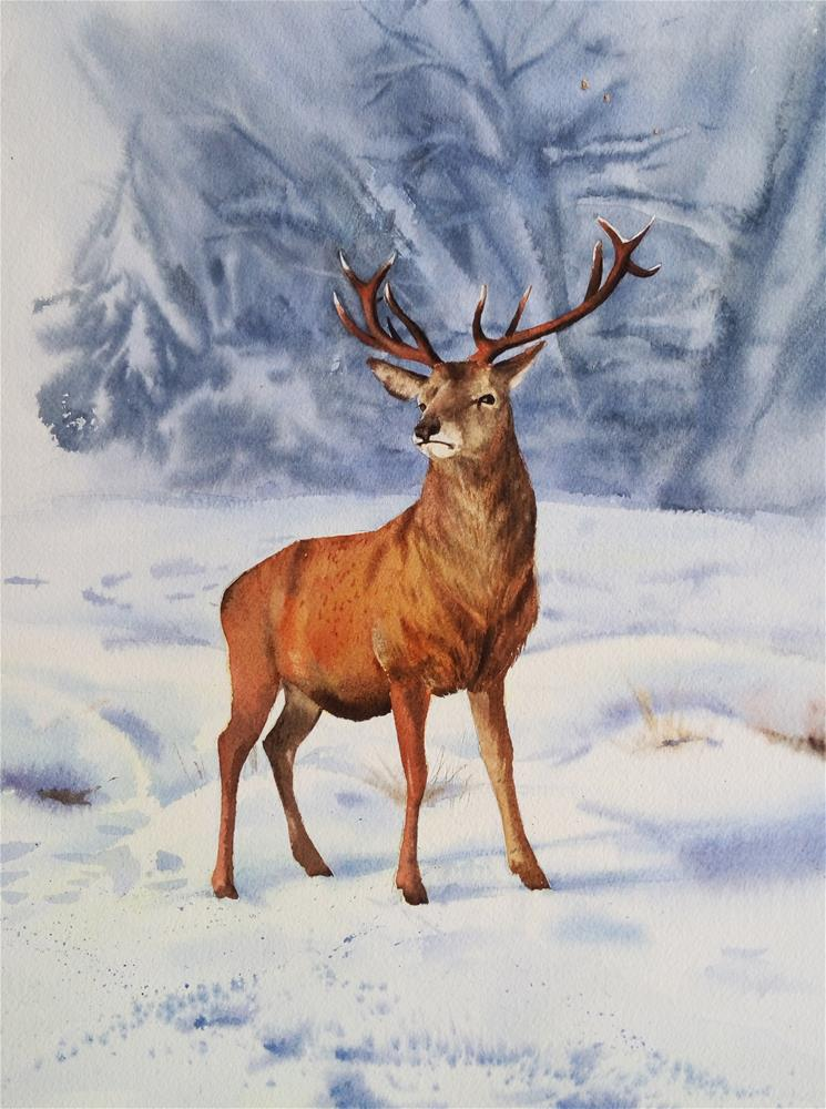 """Winter Deer Stag "" original fine art by Olga Beliaeva"