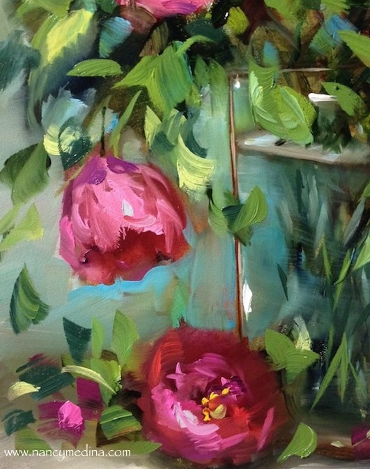 """Think Pink Tulips and a New Italy Workshop - Flower Paintings by Nancy Medina"" original fine art by Nancy Medina"