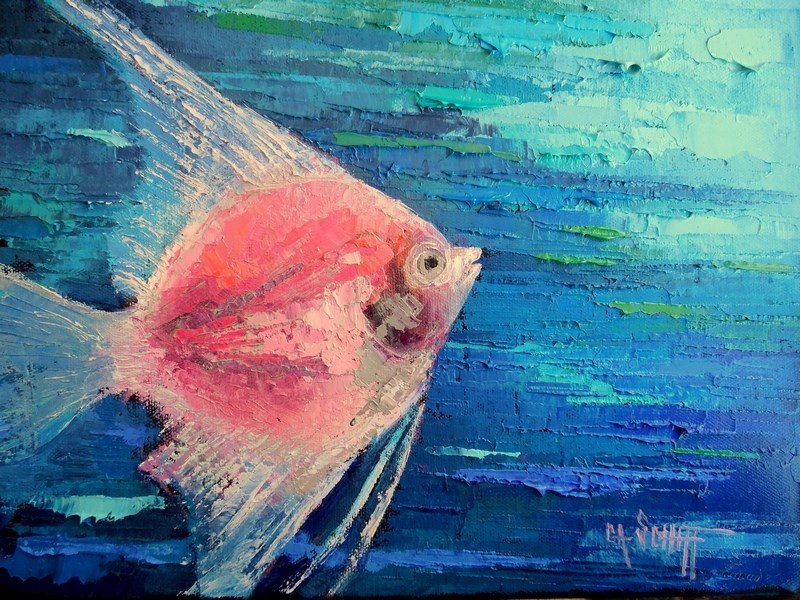 """Tropical Fish Oil Painting, Daily Painting, Small Oil Painting, 9x12x.75 Original Art"" original fine art by Carol Schiff"