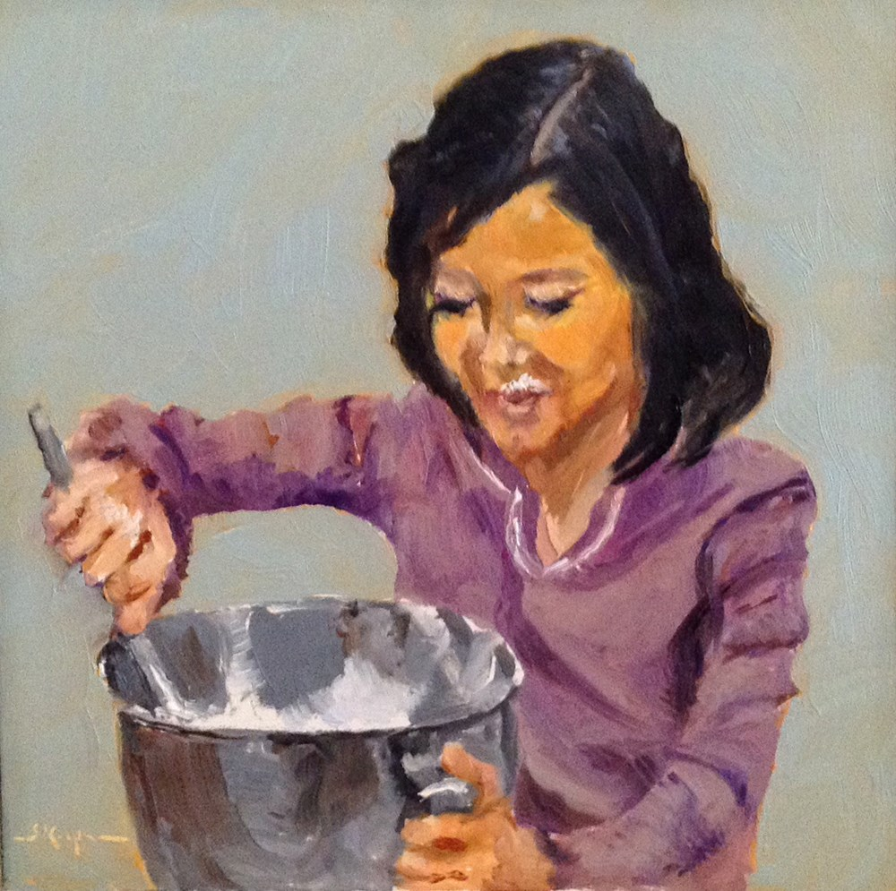 """Licking the Bowl"" original fine art by Shelley Koopmann"