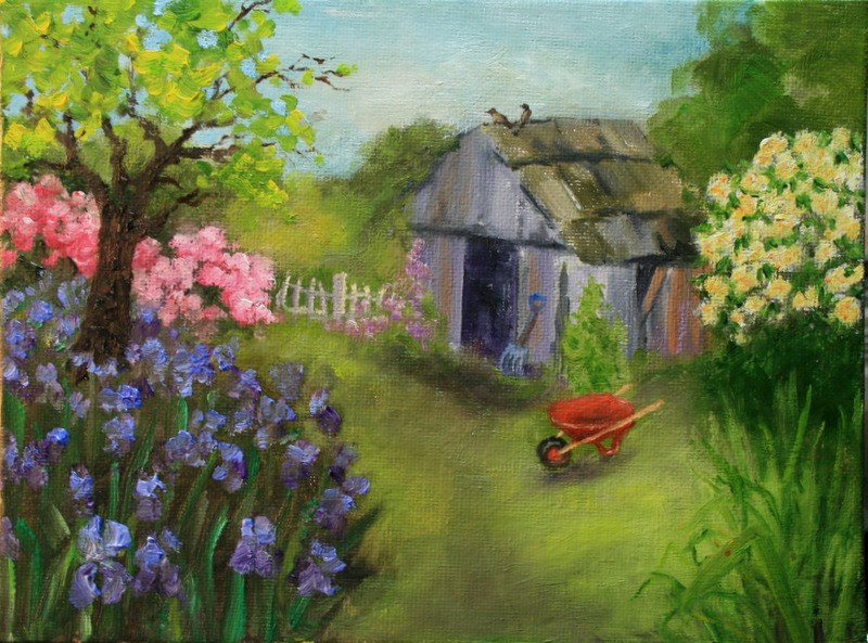 """Garden Shed"" original fine art by Jean Nelson"