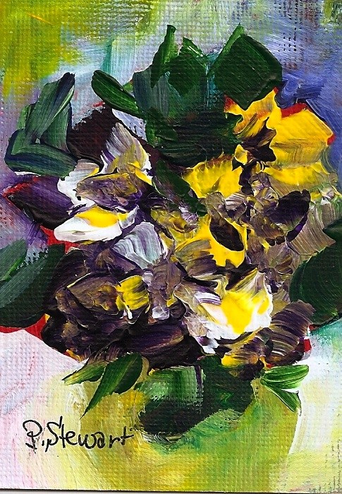 """ACEO Acrylic, Pansies, abstract ala prima style, original art, not a print"" original fine art by Penny Lee StewArt"
