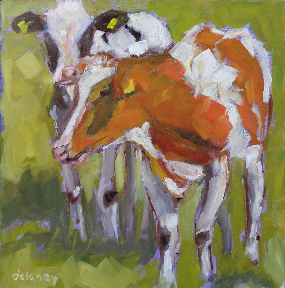 """Cow 71 Grazing"" original fine art by Jean Delaney"