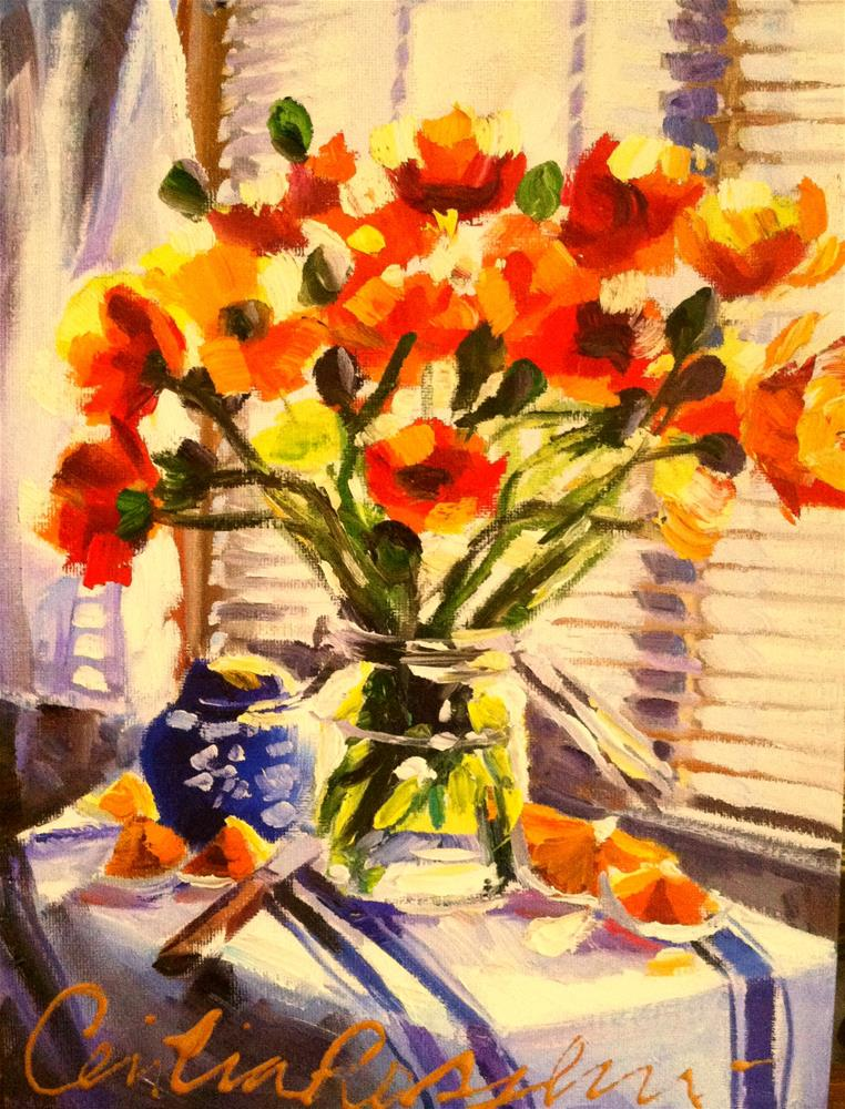 """PENNY'S POPPIES"" original fine art by Cecilia Rosslee"