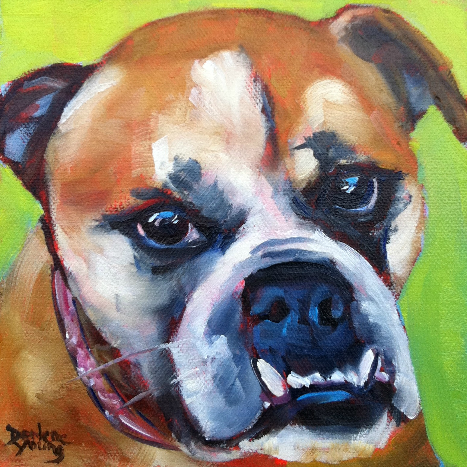 """Beatrice, The Best Dog In the World, oil, 6x6"" original fine art by Darlene Young"