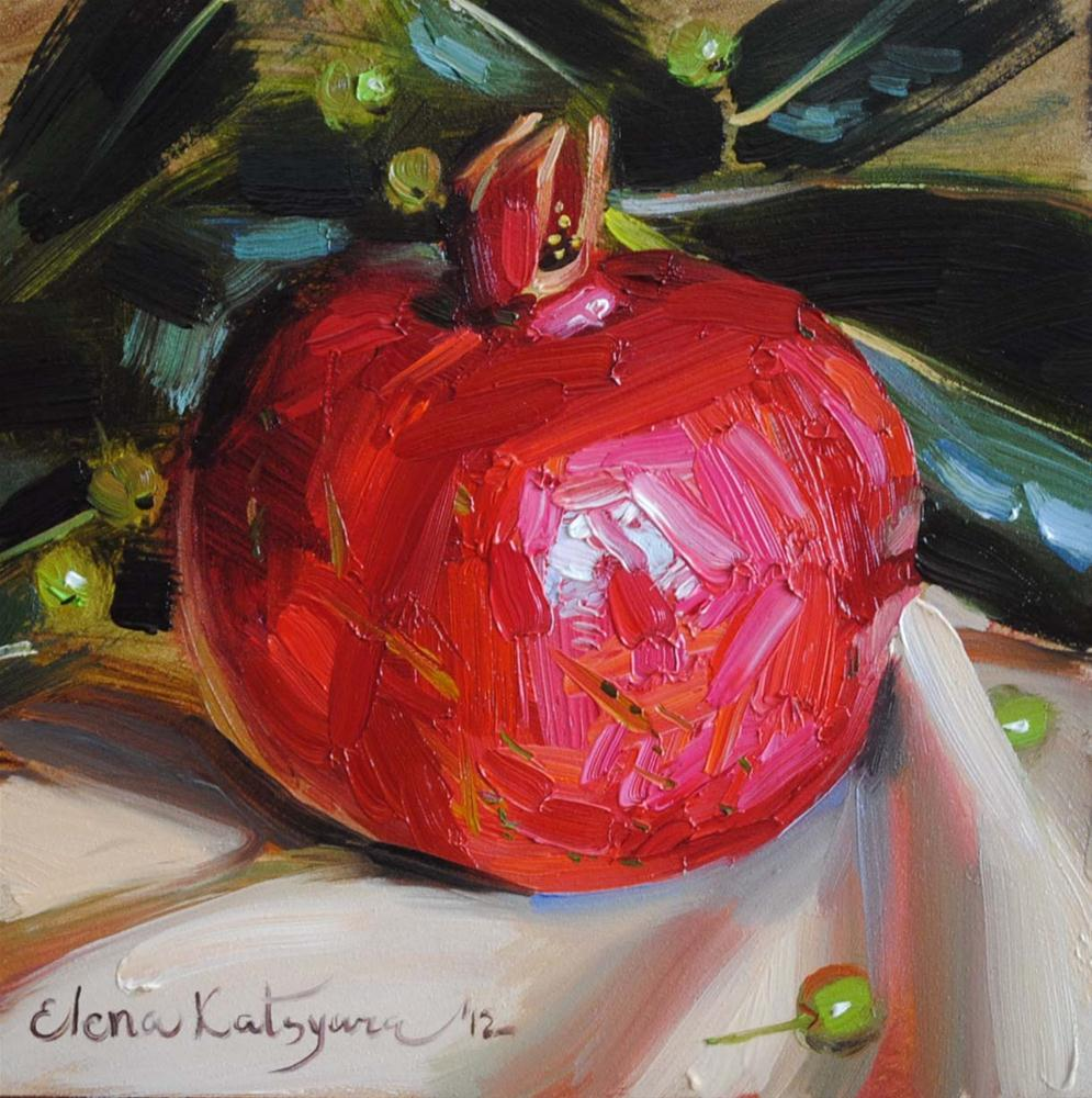 """Bright Pomegranate"" original fine art by Elena Katsyura"