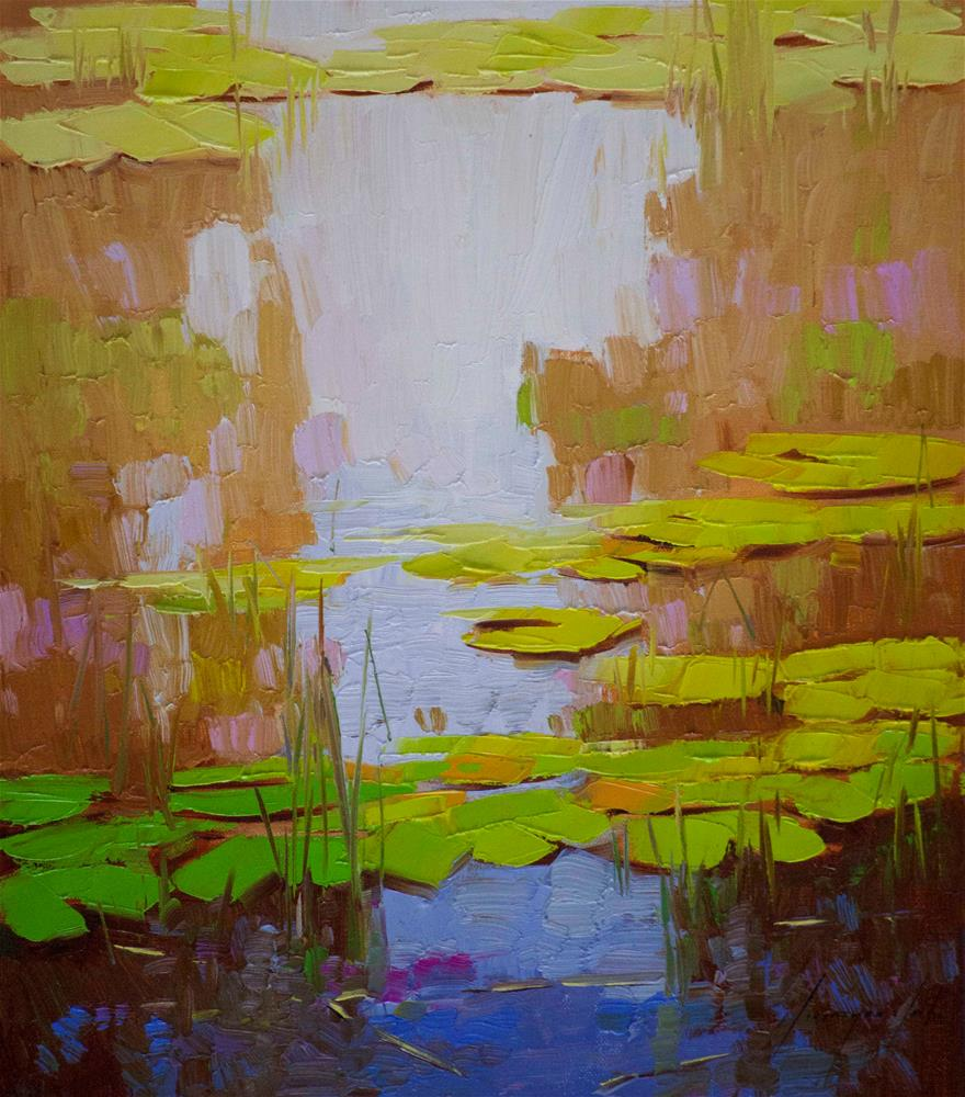"""Water Lilies Garden Original oil Painting Signed"" original fine art by V Yeremyan"