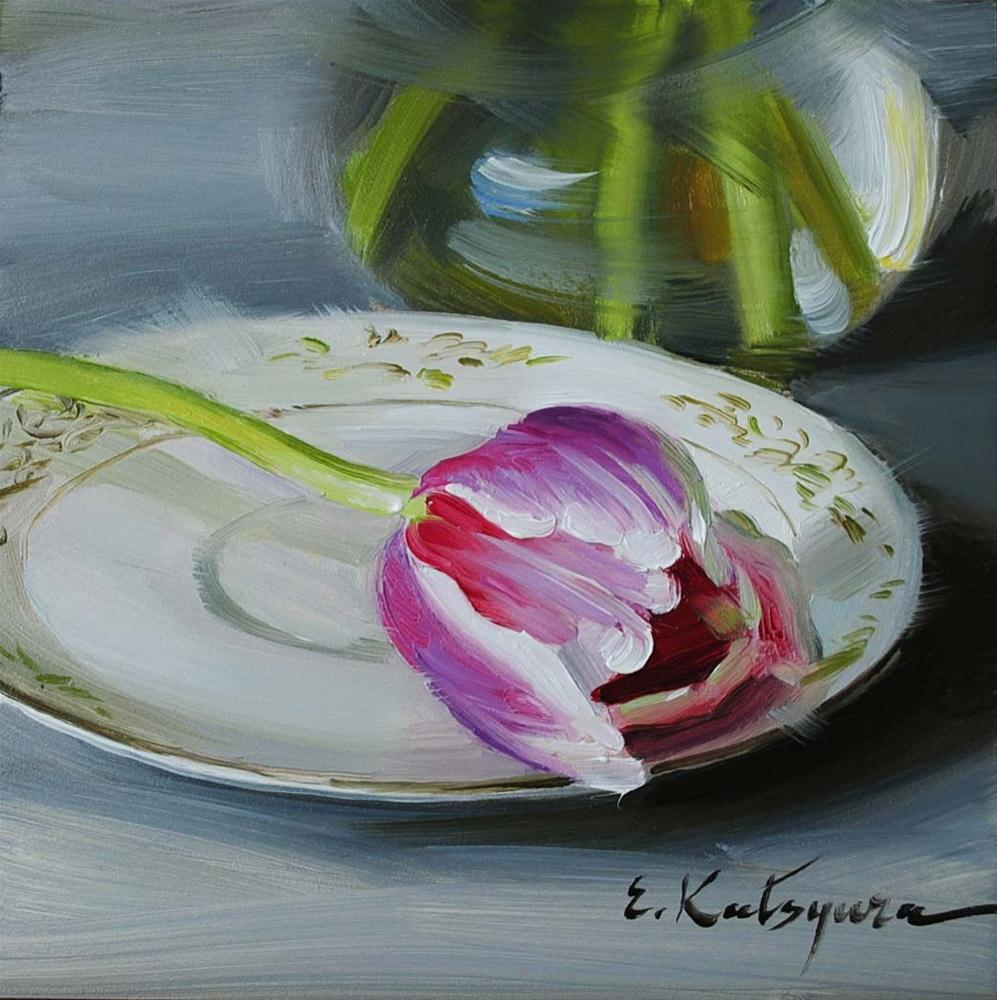 """Tulip on the Plate"" original fine art by Elena Katsyura"