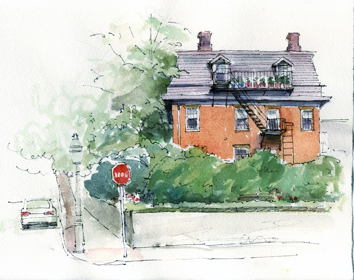 """Sketching on Benefit St."" original fine art by Kathy Weber"