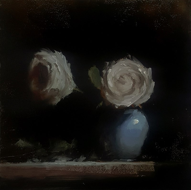 """Two Roses"" original fine art by Neil Carroll"