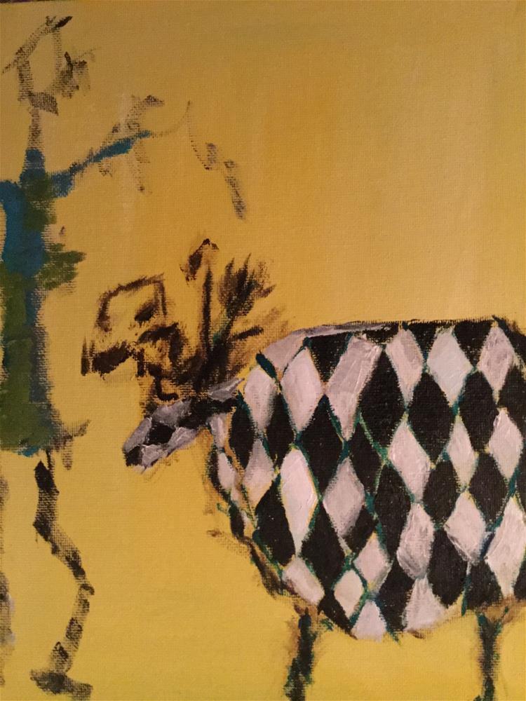 """Yo harlequin yak pet with nice girl "" original fine art by pamela kish"