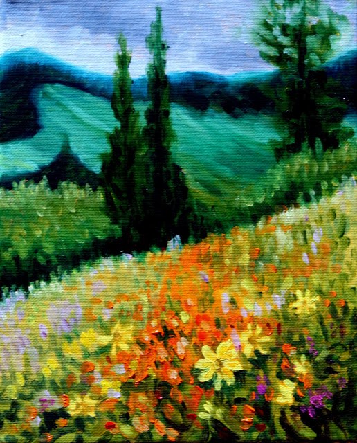 """Storm over the wildflowers"" original fine art by Hilary J. England"