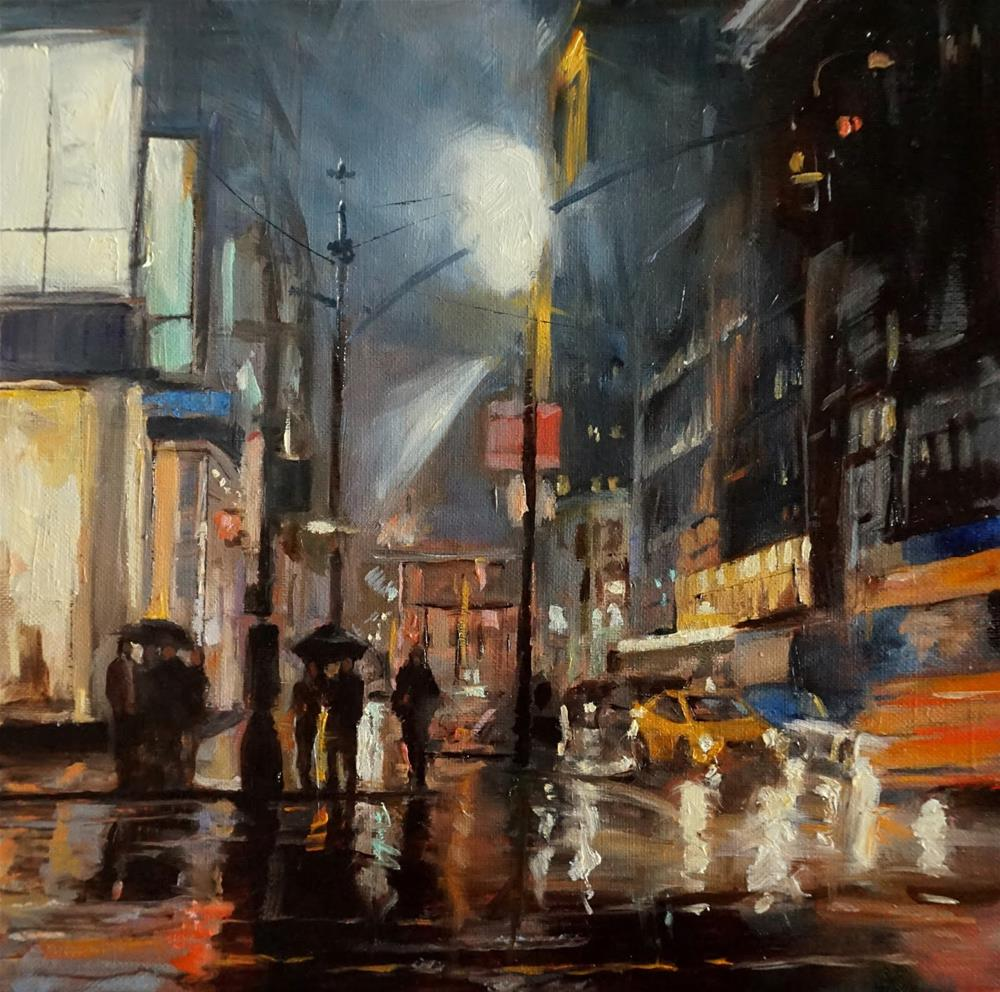 """Rainy Night in Manhattan"" original fine art by Jonelle Summerfield"