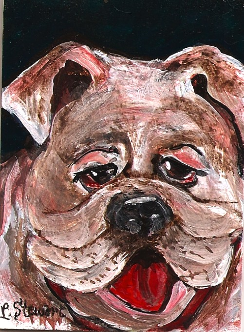 """ACEO Bulldog Beauty, on Masonite"" original fine art by Penny Lee StewArt"