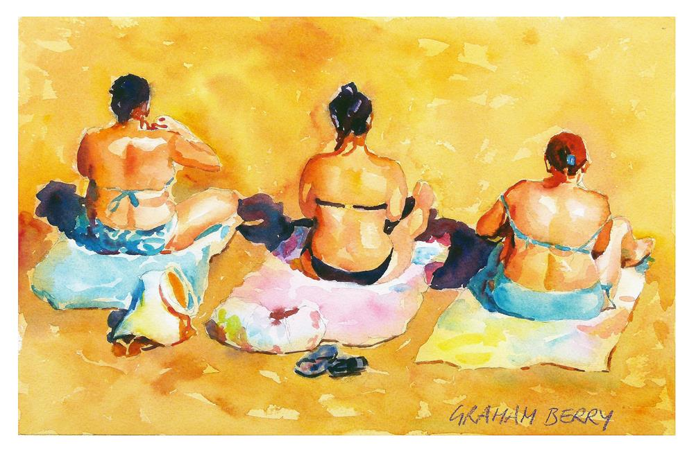 """Beach girls"" original fine art by Graham Berry"