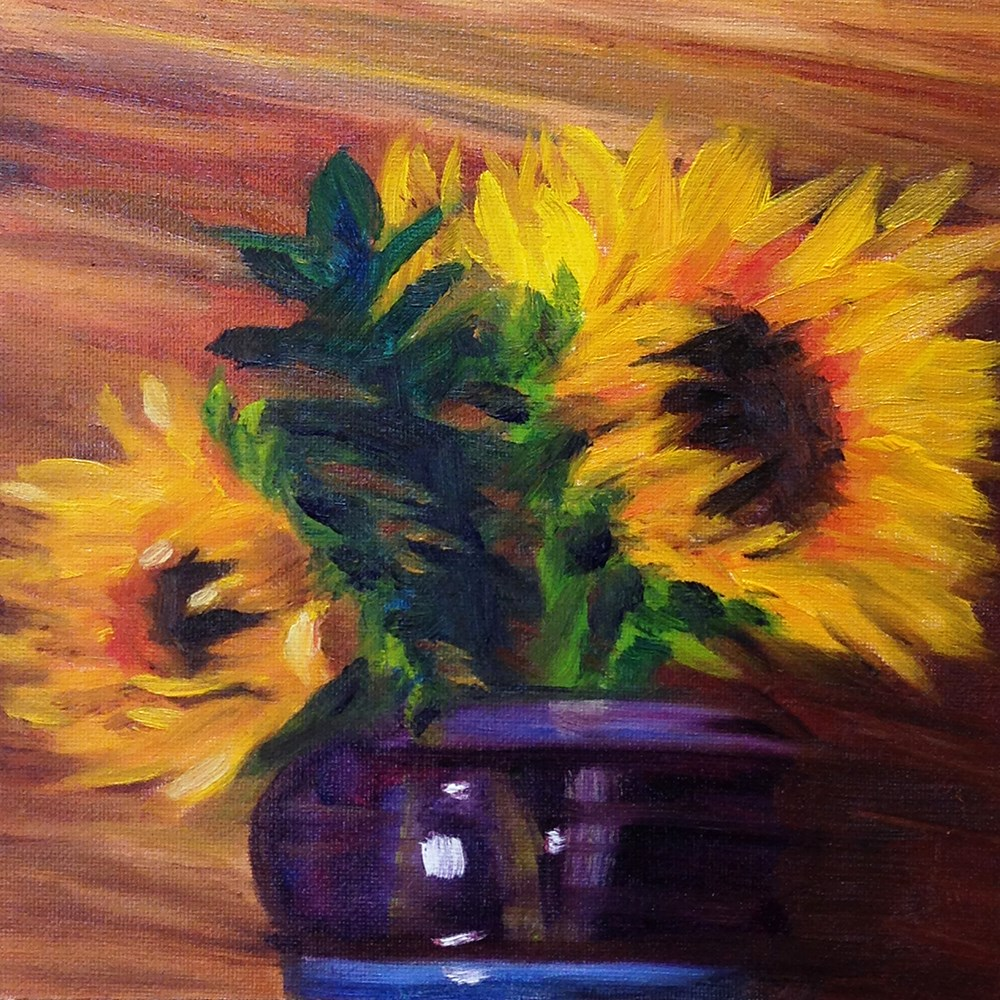"""Impression of Expressionistic Sunflowers"" original fine art by Linda Lowery"